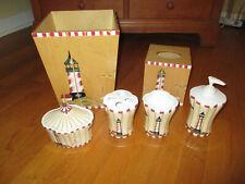 Croscill Lighthouse Bath Set: Wastebasket Tissue Holder Toothbrush Soap Tumbler