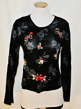 CHIC Kenneth Cole Black Embroidered Sheer Fitted Nylon Mesh Shirt Blouse Top L