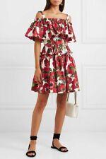 $1495 Dolce & Gabbana AUTH NEW Anemone Floral Print Poplin Tiered Mini Dress 42