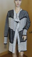 Women's Lucky Brand Long Kimono sweater black white design cotton sz L NWT $129