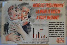 Affiche Nestlé - Bébé est très fragile - Comité national de l'enfance - 1946