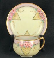 Antique Hand Painted Bavaria Fine China Teacup & Saucer Pink & Yellow w Roses