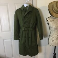 Authentic WW2 WWII Military Green Trench Coat w/ lining 24th Infantry Sm Reg
