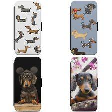 Lindo patrón de Perro Salchicha Cachorro Perro Funda para Estuche de Teléfono Abatible estilo Billetera IPHONE SAMSUNG