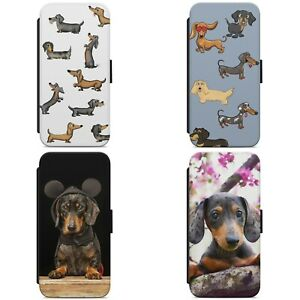 Cute Dachshund Puppy Pattern Dog WALLET FLIP PHONE CASE COVER FOR IPHONE SAMSUNG