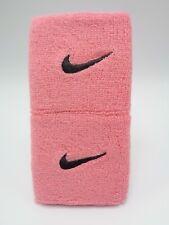 "Nike Swoosh Wristbands Pink Gaze/Oil Grey 3"" Men's Women's"
