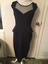 Dorothy Perkins Navy Blue Scuba Bodycon Dress with Peplum Waist Size 14