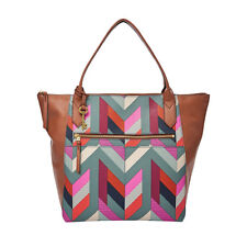 New Genuine Fossil Fiona Brown Leather & Multi Colour Fabric Large Tote Bag £119