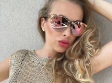 $500 NEW VERSACE Glam Medusa Pale Gold Rose Mirror Sunglasses VE 2177 12524Z
