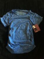 A10 BE MATERNITY SZ S/ M SEAMLESS RUCHED TEE Blue INGRID & ISABEL YOGA Shirt Top