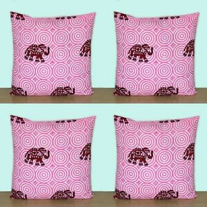 New 4 Pcs Indian Pink Elephant Hand Block 16x16 Printed Decorative Cushion Cover