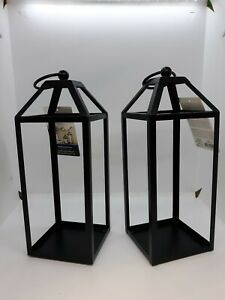"NEW 2 Mainstays Medium Candle Lanterns Black Metal Frames 4"" W x 4"" D x 10.6"" H"