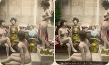 6 farbige Akt - Stereofotos, barbusige Schönheiten, um 1900 - Nude Frankreich
