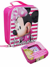 Girls Minnie Mouse Striped Insulated Lunch Bag & Sandwich Containers 3Pc