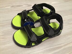 KHOMBU KID'S  BOYS OUTDOOR SANDAL BLACK/ GREEN SUMMER SHOES ANKLE STRAP