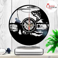 Bass Fishing Clock Vinyl Record Home Art Fish Wall Decor Fly Fisherman Xmas Gift