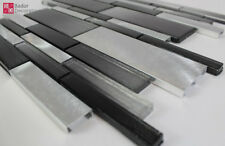 Pâte de Verre Aluminium Mosaïque Carrelage Brillant Noir Mat Argent 1m ² Neuf