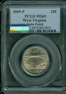 2005-P WEST VIRGINIA QUARTER PCGS MS69 SF PQ MAC SPOTLESS  *