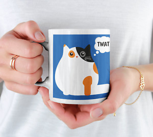 This Cat Thinks You're a Twat Funny Humorous Rude Novelty Cat Mug Tea Coffee Cup