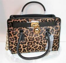 NWT Michael Kors Cheetah Halfcalf & Black Leather Hamilton East West Satchel Bag