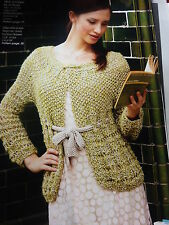 Knitting Pattern  Twisted Drop Stitch Jacket in 2 D.K Knitted Together -30-42in