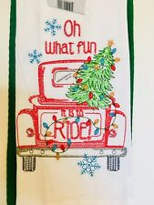 2 Embroidered Vintage Red Truck Xmas Flour Sack Kitchen Towel Plus Waffle Towel