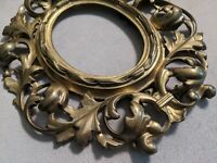 Antique Victorian Gilt Brass bronze easel back Picture Frame Oval Baroque Rococo