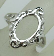 8x12mm Oval Shape 925 Sterling Silver Semi Mount Ring Jewelry Free Shipping