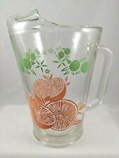"Vintage Orange Slice 7"" Glass Pitcher Lime Green Curved Lip w/ Handle"
