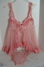 Fredericks of Hollywood Set 3x lace babydoll sheer nightie slip bikini