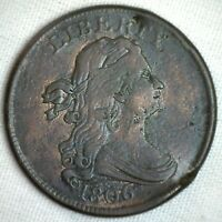 1806 1/2C Draped Bust Half Cent Copper Coin Very Fine Small High 6 Variety #M1