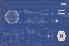STAR WARS - MOVIE POSTER / PRINT (IMPERIAL FLEET BLUEPRINT / SCHEMATICS)