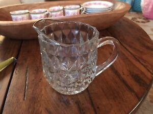 Vintage Jeanette Windsor pattern depression glass, small pitcher