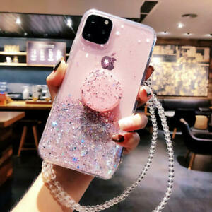 For iPhone 11 Pro Max XR X 6 7 8 + Creative Bling Glitter Case With Phone Socket