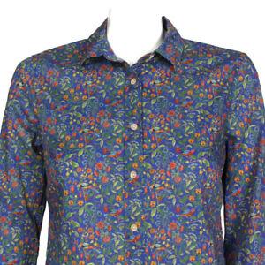 J. CREW Liberty of London Catesby Blue Floral Bird Print Button Shirt Top sz T4