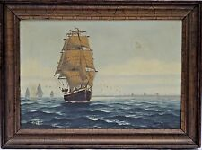 "Hans Peter Engmann (Danish,1879-1938) Oil Painting of Ship ""Georg Stage"" c.1920s"