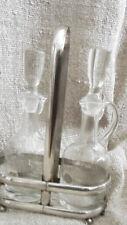 Vintage crystel Oil & Vinegar cruet set with silverplated carrier Romania
