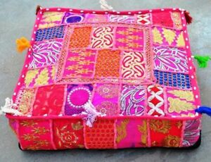 """35x35x6"""" Inch Vintage Handmade Square Cushion Cover Patchwork Cotton Floor Decor"""