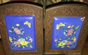 Antique Hand Etched Painted Porcelain Brass Framed Flower Blue Book Ends China