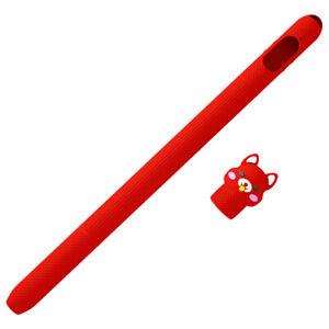Cartoon Silicone Case Holder Nib Cover Sleeve Set For Apple iPad Pencil 1 Gen.