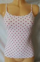 M&S PINK & RASPBERRY SPOTTED CAMISOLE CAMI VEST SOFT STRETCHY TOP UK 10 12 BNWOT