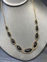 """Vintage Delicate Black On Gold  Lucite Drop Pendant Necklace 16"""""""