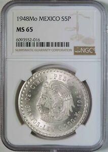 1948 Mo Mexico Cuauhtemoc Silver 5 Pesos Coin NGC Graded MS65 BU Uncirculated