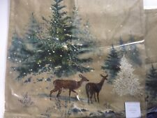 pOTTERY bARN WINTER DEER PILLOW COVER XMAS HOLIDAY HOME DECOR BURLAP LINEN GIFT