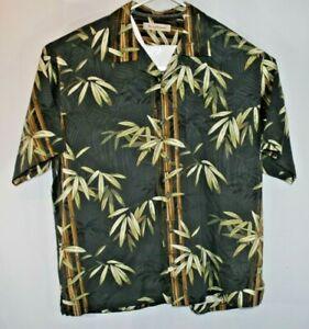 Tommy Bahama Mens Short Sleeve Shirt Aloha Hawaiian Silk XL Black Green (C41)