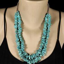 "Vintage Navajo Santo Domingo RARE STERLING 2 Strand Turquoise 22"" Necklace"