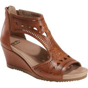 Earth Attalea Barbuda Sand Brown Comfort Leather Wedged Sandals EU 39 AU 8