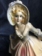 Vintage Heavy Chalk Ware Beautiful French Female In Gown Chippy