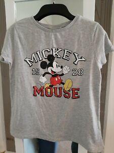Disney Mickey Mouse Tshirt Ladies Size 12 Primark Grey distressed effect logo