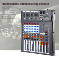 ammoon 6 Channel Studio Audio Mixer Board Mixing Console with Power Adapter Z4P6
